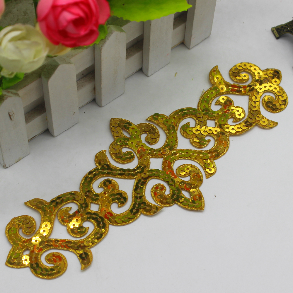 YACKALASI 5 Pz / lotto Paillettes Appliqued Patch 3D Gold Cosplay Costume Trim Metallic Venise Fiore Ferro Su Vintage 21 CM * 8 CM