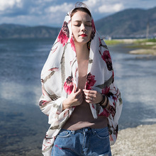 Фотография Women Beach Summer Towel Tunic Rose Pattern Mask Wind Luxury Russia Shawl Winter Scarf Gifts New Year Stoles Thin Wraps For Girl