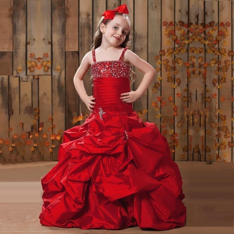 7efbc4ae0471 New Prom Children 2016 Taffeta Red Flower Girl Dresses Spaghetti ...