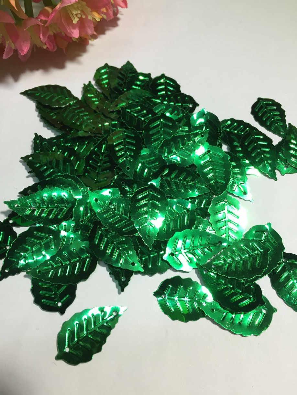 50 גרם\חבילה עלה פאייטים 13*24mm PVC תפירת DIY בגד אבזר עלים עם 2 חורים ירוק קונפטי