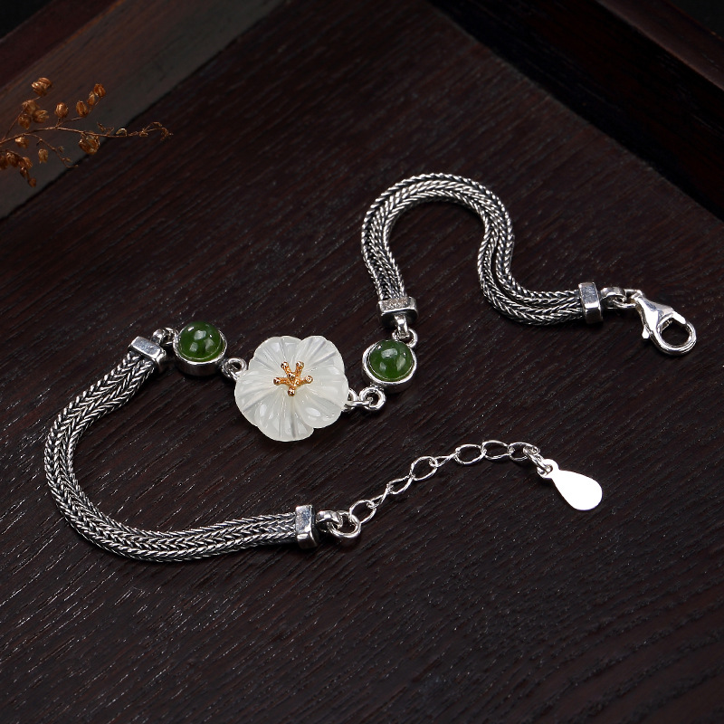 Women Retro Vintage S925 Sterling Silver Bracelet & Bangle Antique Hetian White Lotus Lady Bracelet 15+3cm купить недорого в Москве