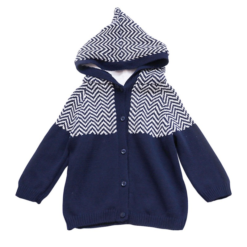 New Brand Newborns Baby Sweaters Hooded Cardigan Wave Pattern Sweater Coats