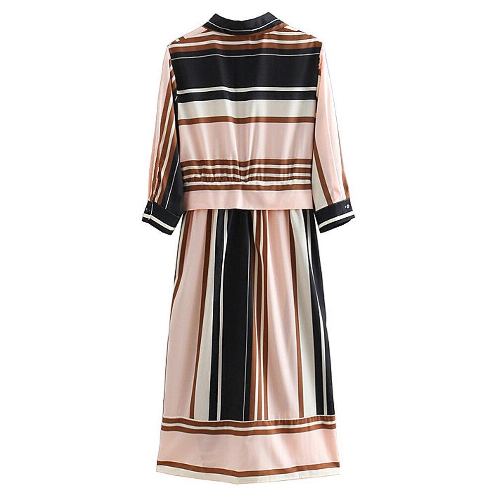 e8cc422a34d07 CHICING 2018 Women Striped Shirt Dress Autumn Winter Loose Long Sleeve  Natural Waist Sashes Dress Vestidos De Fiesta 1809044