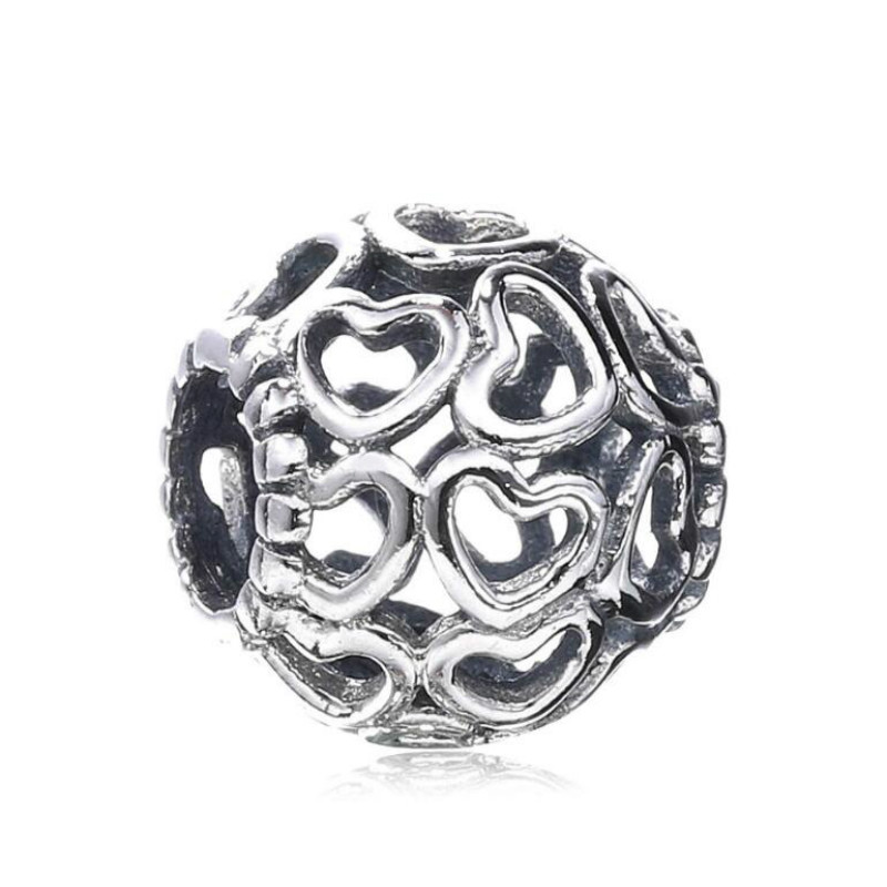 100% 925 Sterling Silver Vintage Love Hearts Openwork DIY Beads Accessories Fits Pandora Style Charm Bracelets & Necklaces