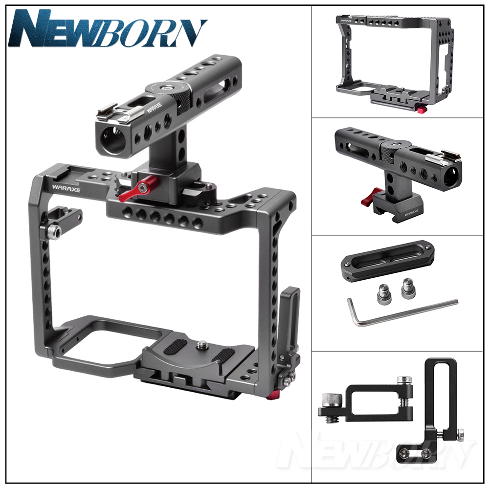 WARAXE GH5 Kit Camera Video Cage & Handle Grip for Panasonic GH5 GH4 DSLR Camera,Built-in Quick Release Fits Arca Swiss цены