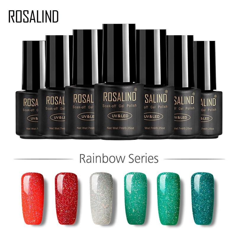 ROSALIND Gel 1 S 7 ML Colorful Rainbow Shimmer R01-29 Nail Polish Gel Arte Professionale Del Chiodo Lacca UV LED Lungo-durata di Scintillio
