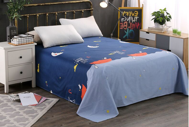 1pc Big Size 100% cotton Spring Printed Flat Sheet Mattress Cover Europe Printed Bedding Bed Sheet Twin Double Twin King
