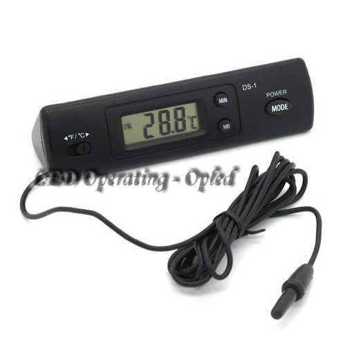Super Aquarium Digital Thermometer Fish Tank, Wired Thermometer 2x Double inside & outside Temperature Measure for comparison