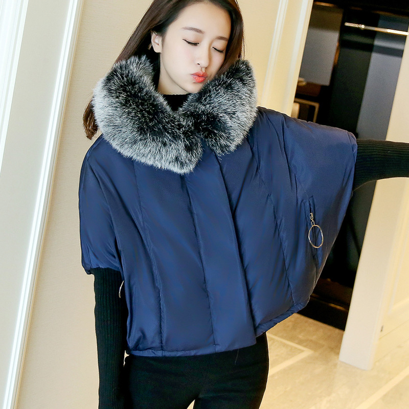 New Winter 2017 Fashion Jacket Hooded Fur Collar Short Cotton Padded Clothes Loose Bat Sleeve Parkas Casual Coat Female Outwears big fur 2017 new fashion parkas winter jacket hooded fur collar warm cotton padded inside fur thick coat loose female outwears