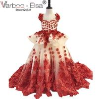 VARBOO_ELSA Weddings First Communion Dresses For Girls Red Rose Petal Appliques backless Flower Girl Dresses Kids Evening Prom
