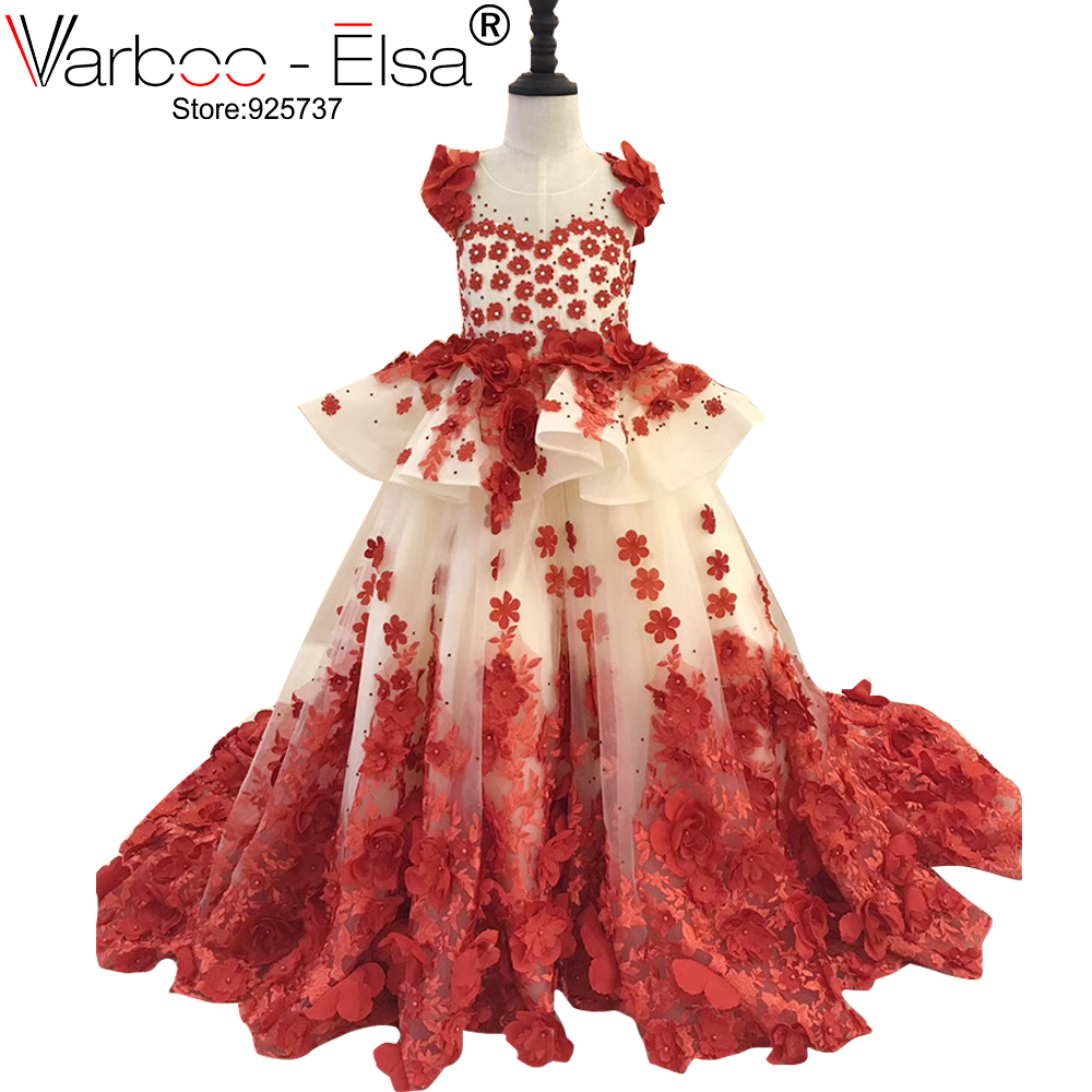 VARBOO_ELSA Weddings First Communion   Dresses   For   Girls   Red Rose Petal Appliques backless   Flower     Girl     Dresses   Kids Evening Prom