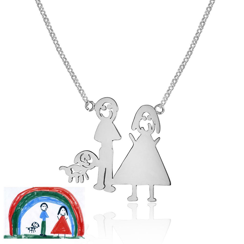 DIY Pendant Necklace 925 Sterling Silver Handwritten Personalized Necklace Family Drawing Best Lovers Gift (NE101714)DIY Pendant Necklace 925 Sterling Silver Handwritten Personalized Necklace Family Drawing Best Lovers Gift (NE101714)