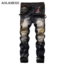 Aolamegs Men Jeans Pants Hole Embroidery Wing Full Length High Street Crest Summer Elastic Light Self Cultivation Denim Straight