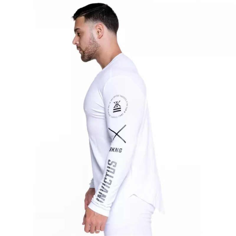 Новинка 2018, мужские Эластичные Обтягивающие Футболки с длинным рукавом, мужская спортивная одежда для фитнеса, бодибилдинга, бега, брендовая одежда, плюс размер, M-XXXL