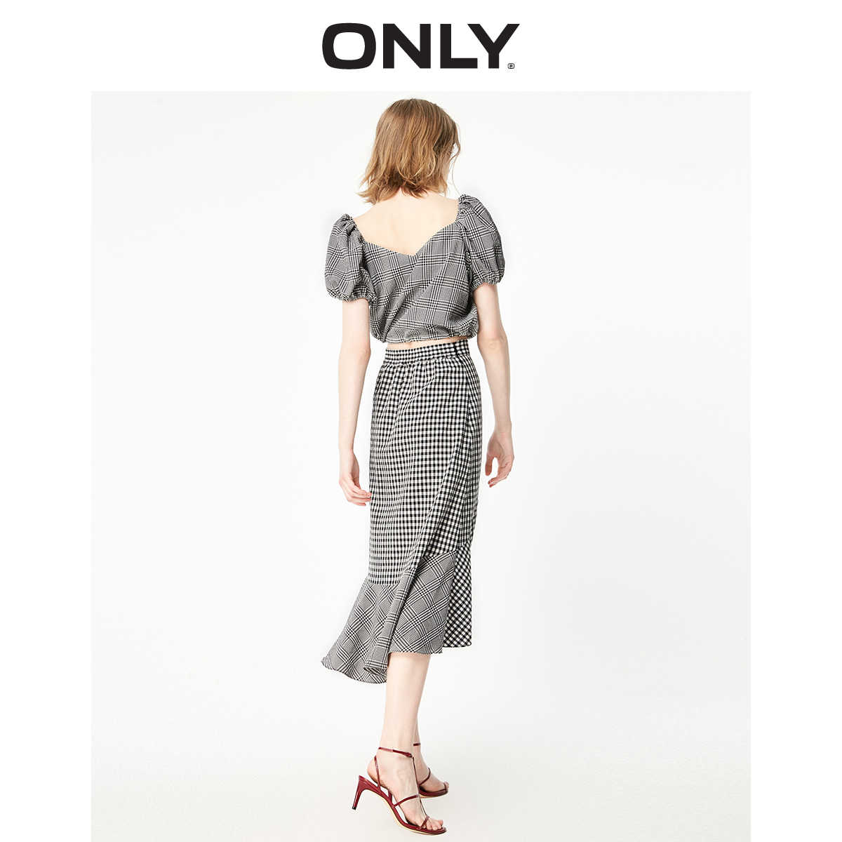 فقط ربيع صيف جديد النمط الفرنسي فحص فستان بتصميم بدلة | 119107646