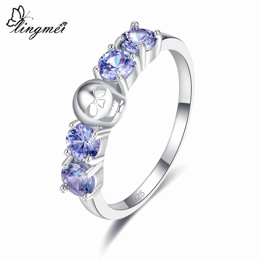 Lingmei moda redonda corte azul & preto zircão prata crânio anel tamanho 6 7 8 9 para mulheres presente da jóia dos homens chique anéis de casamento
