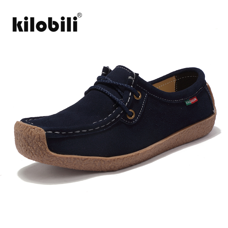 kilobili 2018 Spring Women Ballet Flats Shoes   Suede     Leather   Lace up Square Toe Moccains Women Casual Handmade Boat Shoes Mam