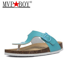 MVP BOY New Women Cork Flip Flops Slipper Casual Summer Beach Solid Color Slip on Slides Shoe Flat White Black Pink Beige red