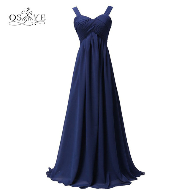 440116ac373 Navy Blue Cheap Long Bridesmaid Dresses A-line Spaghetti Straps Sweetheart  Formal Wedding Party Gown Custom Made