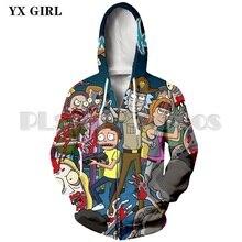 Unisex 3D Print Rick And Morty Zipper Hoodies Men/Women Sweatshirt Hoodie Cartoon Scientist Printed Pullover 5XL