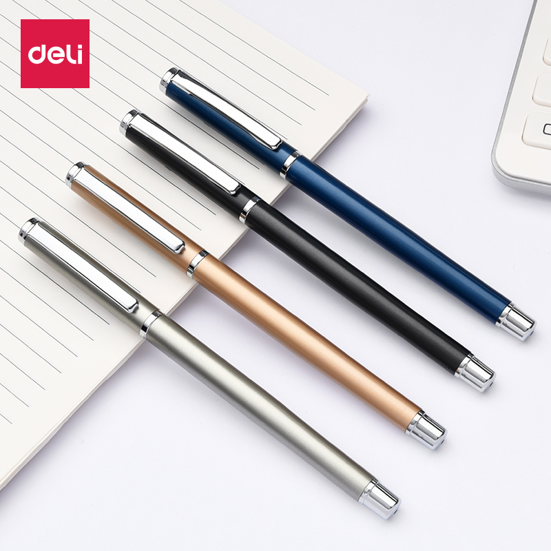 DELI S82-01 Metal Gel Pen Carbon Sign Pen 0.5MM Business Office 1PCS german imports schneider signing pen gel pen elegant business 1pcs
