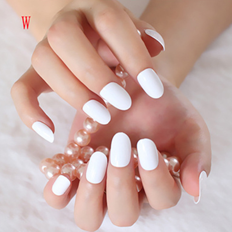 Nail Art With White Acrylic Paint: Shiny False Nails Pure White Acrylic Nail Tips Oval Top