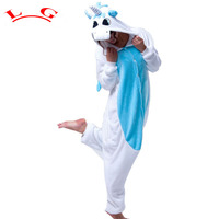 Blue Unicorn Unisex Flannel Hooded Pajamas Adults Cosplay Cartoon Animal Onesies Sleepwear Hoodies For Women Girls
