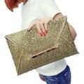 Chegada nova Ultrafinos Mulheres embreagens dia sacos de Embreagem Bolsa Bolsas Brilhante Sólida Saco Envelope Noite Sacos de Festa de Lantejoulas de Ouro