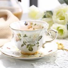Boreal, европейский стиль, фарфоровая кофейная чашка из костяного фарфора, пасторальная белая роза, английская послеобеденная чашка с блюдцем, подарочная коробка