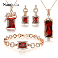 Nandudu Austrian Crystal Jewelry Set Two Necklaces One Pair Earrings One Bracelet Party Jewelry Gift HOT