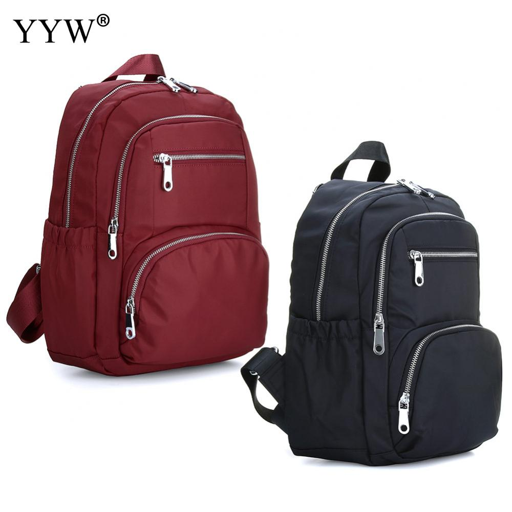 YYW Casual Nylon Backpack Women Waterproof School Backpack For Teenager Boy And Girl Black Red Travel Backpacks Mochila Escolar men backpack student school bag for teenager boys large capacity trip backpacks laptop backpack for 15 inches mochila masculina