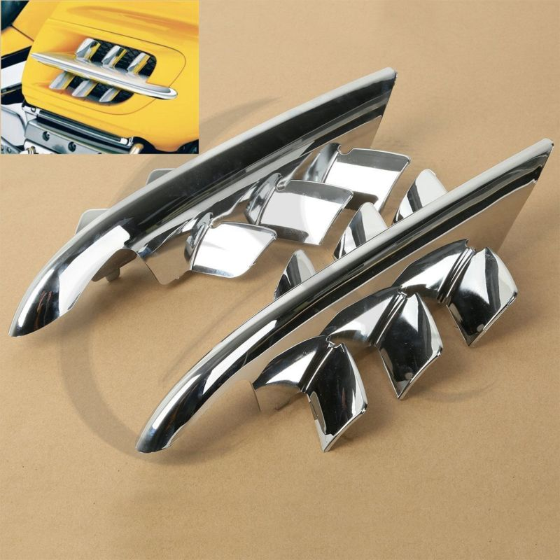 Chrome Shark Gills Fairing Accents för Honda Goldwing GL1800 2001-2010 07 08 09