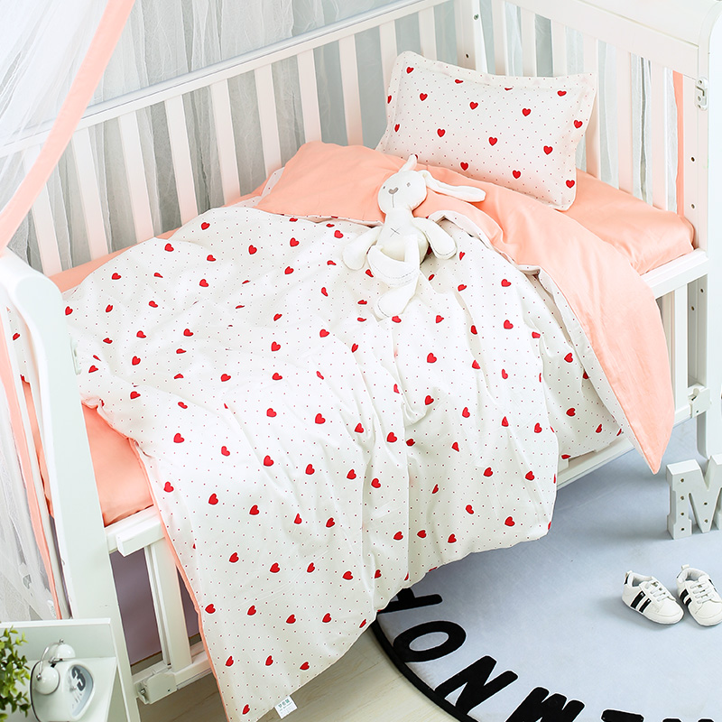 Baby Bedding Set Cotton Cartoon Breathable Baby Bed Linen Infant Newborn Crib Duvet Cover Bed Flat Sheet Pillowcase Baby Bed Set image