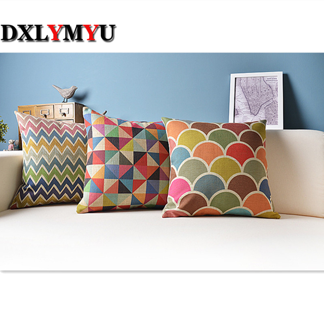 Geometric Cushion For Sofa Car Decorative Pillows Colorful Cushions Home Decor Capa Para Almofada