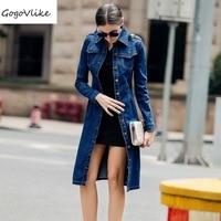 Maxi Size S 4XL 2016 Feminino Spring Autumn Women Slim Denim Dress Long Sleeve Vintage Casual