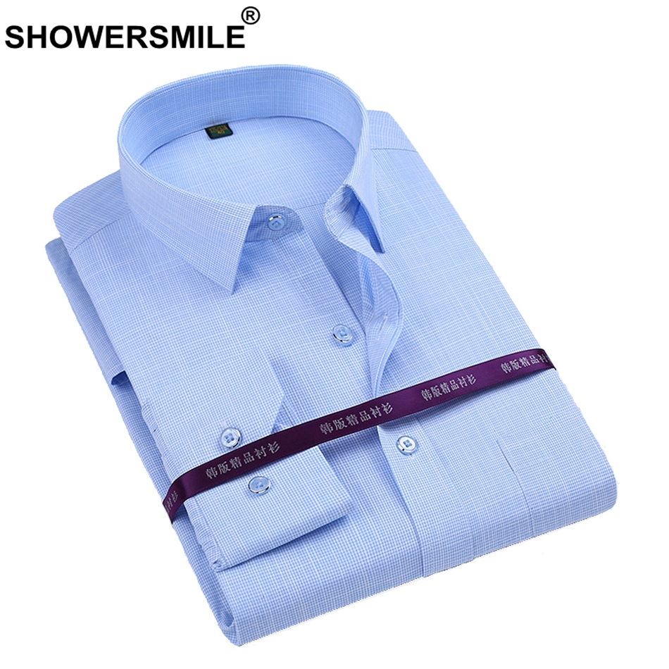 SHOWERSMILE Bamboo Fiber Shirt Män Långärmad Klänning Skjortor Man Regular Fit Party Business Social Bomull Solid Formell Skjorta