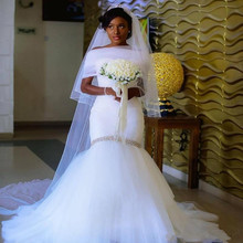 FANGDALING African White Mermaid Wedding Dress Custom Made