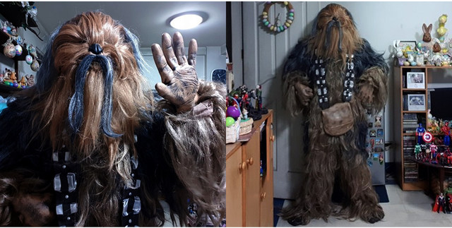 Star Wars Chewbacca Cosplay Costume Halloween Party Suit Costumes jumpsuit helmet gloves bag Shoe cover8