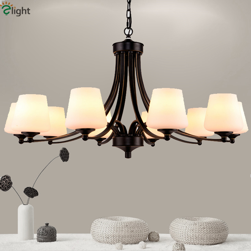 85-265V CE Certified Nordic Pastoral Frosted Glass Candle Chandelier Light American Country Foyer Paint Iron Led Chandelier led gold deco chandelier bulbs candle light e14 85 265v 5w lamps