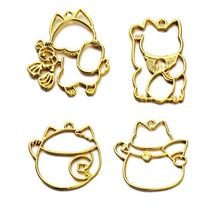 2Pcs Lucky Cat Charm Blank Resin Frame Pendant Open Bezel Setting Jewelry Making
