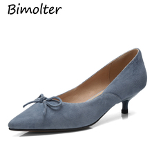 Bimolter Sheep Suede Pumps 4cm Middle Heels Pointed Toe Butterfly-knot For Women Ladies SpringSoft Leather Shoe New NB068