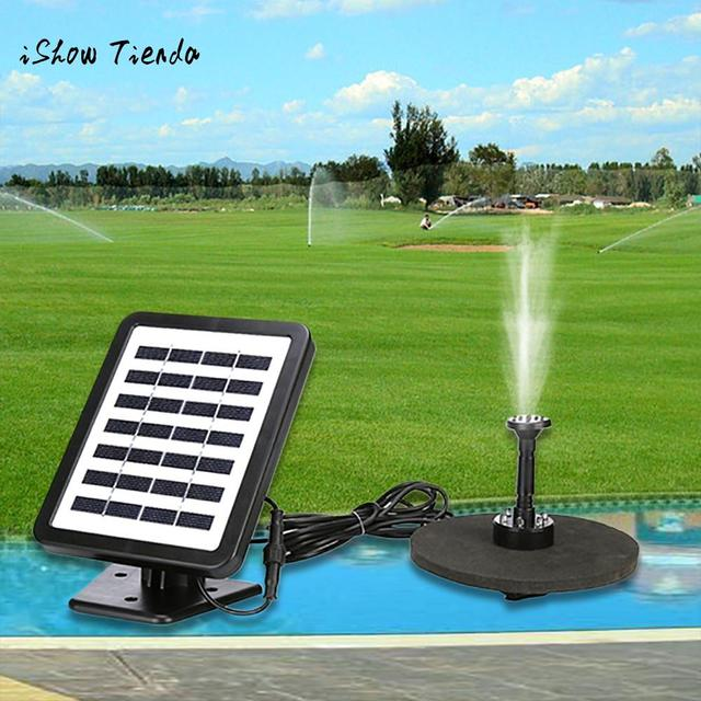 Outdoor Solar Powered Bird Bath Water Fountain Pump With LED Light ...