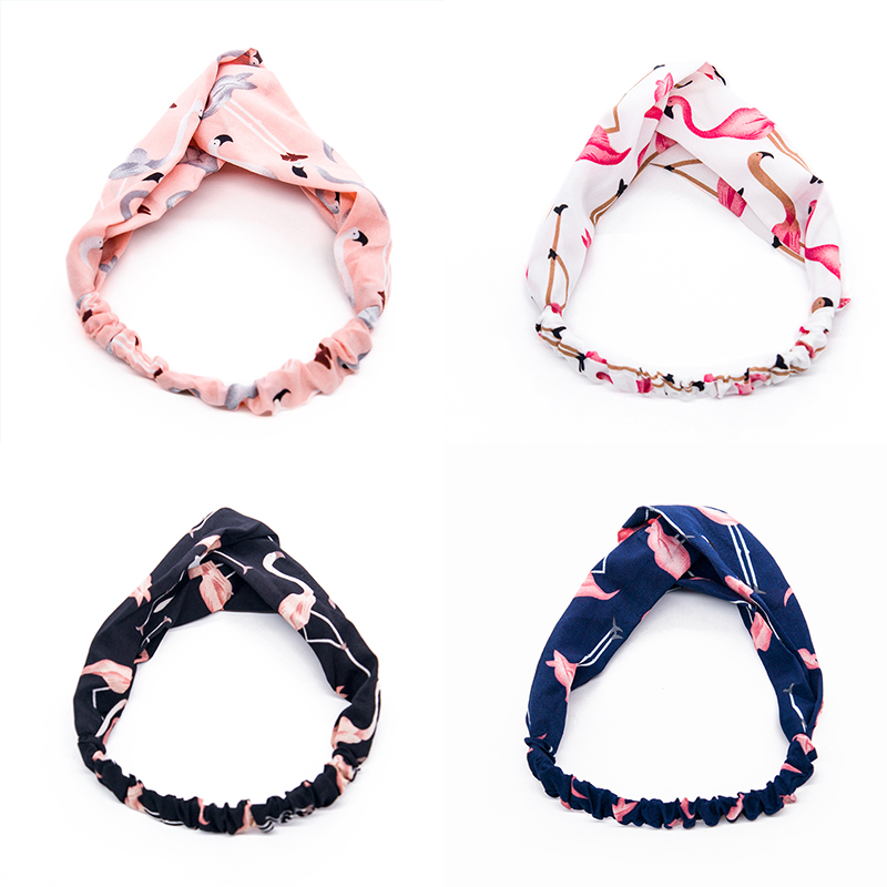 Women Fashion Headbands Cartoon Flamingo Cross Hair Bands Turban Bandage Bandana   Headwear   Headwrap Hair Accessories for Girls