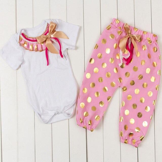 Metallic Baby Girls Clothing Set Cotton Short Sleeve Pink White Bodysuit  Gold Polka Dots Harem Capris 2pcs Fall Girls Outfit 38c651cd1