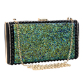 Mix design rhinestones green women messenger chain shoulder evening bags day clutches purse evening bag for lady handbags