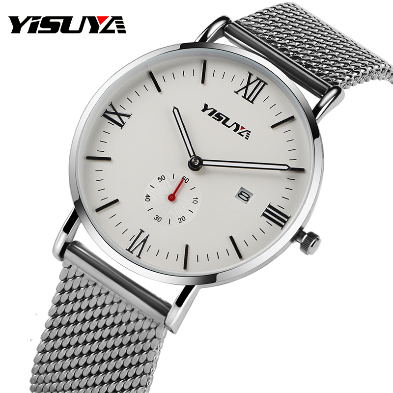 Top YISUYA Date Milanese Stainless Steel Mesh Band Wrist Watch Simple Women Men Quartz Sport Analog Watches relogio masculino feitong luxury women watch simple style stainless steel mesh band analog quartz wrist watches relogio feminino 2017 montre femme