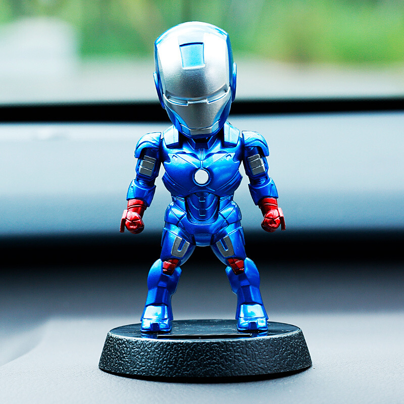 Image 2 - 2017 Q Version Action Figure Superhero Iron Man PVC Figure Solar Energy Shake head Toy 12cm Chritmas Gift Toys-in Action & Toy Figures from Toys & Hobbies