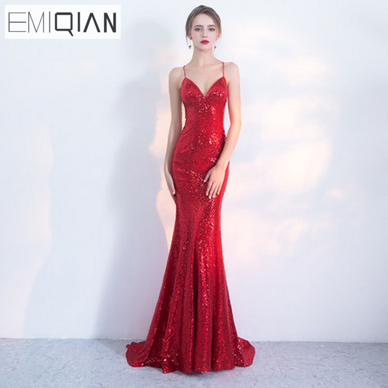 NOVO Designer Red Sequin Formal Prom Party haljina Spaghetti remen - Haljina za posebne prigode - Foto 1