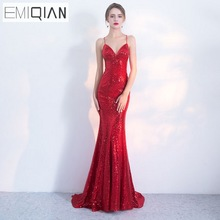 NUOVO Designer Red Paillettes Formal Prom Party Dress Spaghetti Strap Backless Abiti lunghi da sera robe de soiree