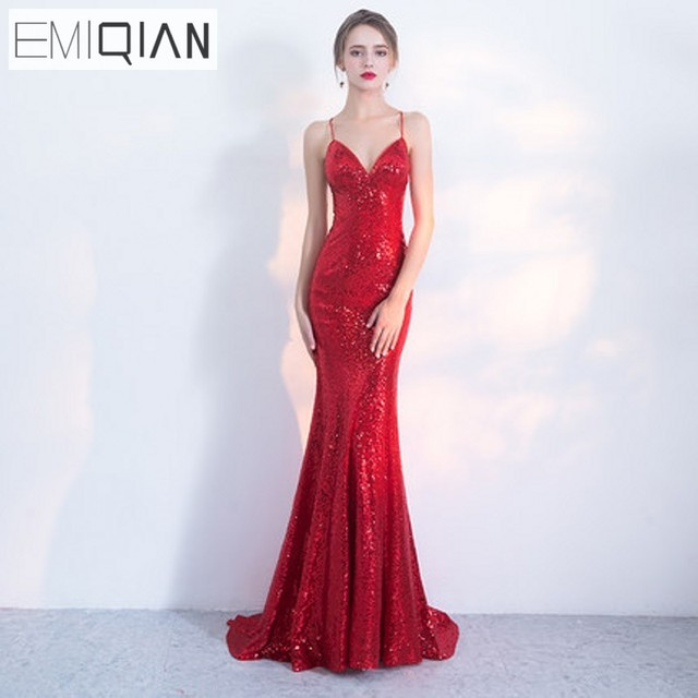 648caa121d4e NEW Designer Red Sequin Formal Prom Party Dress Spaghetti Strap Backless  Long Evening Dresses robe de soiree